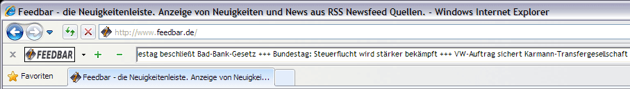 Screenshot Feedbar RSS Newsfeed Reader